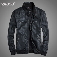 Free Shipping 2013 male general motorcycle pleated PU clothing New winter men's jacket collar Slim leather jacket big yards