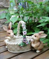 New home seniority wedding gift unique laciness rabbit storage basket key - -