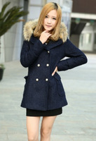 Causal & Fashionable Hooded Double-breasted Pure Color Pocket Slim Coat----Dark-blue 2014Women cheap plus size winter coat