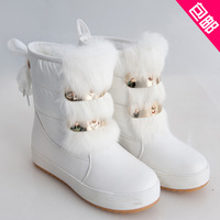 2013 winter boots platform elevator paltform snow boots female flat heel fur one piece fashion women girl boots free shipping