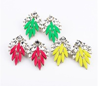 2013 New Fashion Neon Rose Red / Green/ Yellow Crystal Drop Earrings Vintage Jewelry For Women Free Shipping