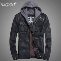 Free Shipping 2013 THOOO new wholesale Short Hooded PU leather jacket Blacks MEN'S JACKET coat Racing M L XL 2XL 3XL 4XL 5XL
