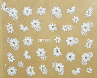 100 Sheets/Lot Nail Art 3D Stickers White Flowers  3D Design Decal Tip Manicure Mix Color Self-adhesive Flower Decal