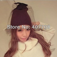Free shipping! 2013 News fashion winter knitted women veil beanies hat with bowknot 3 colors ladies warm face veiling cap beanie