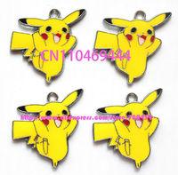 New 100 pcs Cartoon DIY Pocket  Pikachu Charm Metal Pendant jewelry