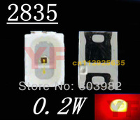 Free shipping High bright 2835 RED smd led 0.2W chip led 14-18LM light emitting diode 500pcs/lots