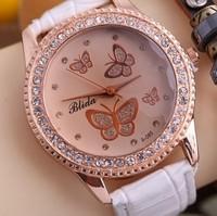 Free Shipping casual Imitation Diamond Leather Band Women Butterfly dress Watches Rhinestone Quartz Wrist Watch