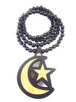 Starmoon pendant designs hip hop good wood made rosary beaded pendants necklaces(10pc/lot)