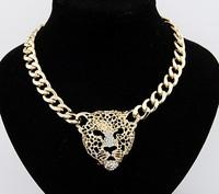 Min order is $9 Fashion rhinestone leopard head lion head necklace fashion accessories XL465