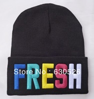 Free shipping 12pcs/lot  FRESH Beanie Fresh Hats  black  new  Beanie   One of a kind   beanie