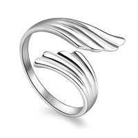 Feather Style Opening Silver Ring Romantic Fashion