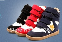 Free shipping 2013 hot Newly Super A  Isabel Marant Women's Velcro Strap High-TOP Sneakers Shoes Ladys Ankle Wedge Boots