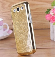 New 2013 Hot Sale Luxury Chorme Plating Plastic Cover With Glitter Surface Case For Samsung Galaxy S3 Silver Color Free Shipping