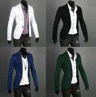 Black,Blue,Green,White Size M-XXL 2014 Autumn Fashion Style Blazer Men, Slim Top design Suit ,Korean Slim Suit Coats