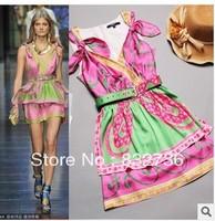 Free shipping 2013 women sexy condole v-neck printed leather belt 100% silk dress