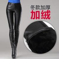 New black high waist leather pants women plus velvet warm winter trousers pencil pants
