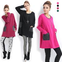 Plus size clothing 2013 mm autumn and winter thermal leather pocket medium-long loose big velvet thickening basic shirt