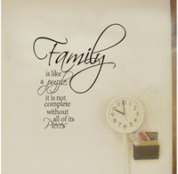 Family is like a puzzle word quote wall sticker,removable home decor decoration wall decals,Free shipping