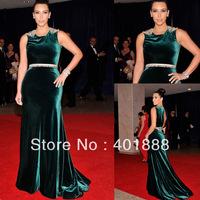 Cap Sleeve Wholesale Plus Size Velvet Elegant Long With Belt Celebrity Boutique Dress