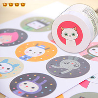 Cartoon stickers animal sticker circle sealing paste 18 6427