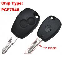 2 Button VAC102 Uncut Blade Remote Key 433Mhz PCF7946 for Renaul Car Keys Fob