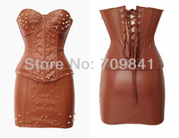 Sexy PU fashion corset set mini skirt overbust bustier rivet stud detail corselet lace up back corpete gothic langerie 1254