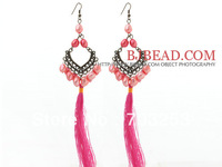 Amazing New Design Pink Series 8-9mm Baroque Pearl Tassel Dangle Earrings