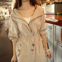 2014 New Arrival Women's Fashion Spring/Autumn Slim Cotton Outerwear Trench Female Dot Decoration Jacket