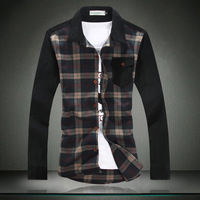 2013 autumn patchwork plaid shirt corduroy long-sleeve shirts slim male plus size 5xl men's clothing