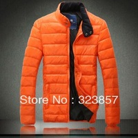 2013 autum-winter fashion Korean style warm casual coat big size jacket stand collar outerwear men's thick jacket free shipping
