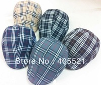 Cotton Checked Peaked Beret Newsboy Visor Hat Cap Cabbie beret Gatsby Flat Cap Hat grid