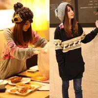 Womens Deer Pattern Long Style Thicken Sweatshirt Hoodies Outerwear  free shipping 76865-76866