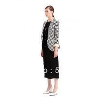 Jacket/Coat/Women Blue Cotton Blends Coat/White,Blue.