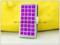 The diamond of bright in the wallet leather dirt-resistant case and colors for iphone4 4S ~1pcs/lot