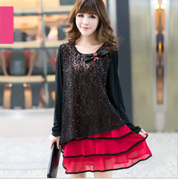 plus size black Lace chiffon Dress Big Size Loose Fat Women Autumn long sleeve dress winter Plus size 4XL extra size bow dress