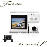HD car DVR 1080P with 2.0 inch LTPS LCD, G-sensor, touch key, voice prompts, 2 Cameras car DVR and 4 colors for options
