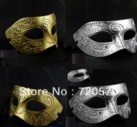 Two Men Ancient Greek and Roman Warriors Masquerade Mask Gold and Silver Color Optional Free shipping