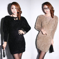 Mohair medium-long 2013 fashion woman autumn and winter casual sweater women's basic sweater slim sweater dress