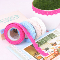 Lemon green tea fabric lace decoration strip diy tape cotton prints tape corner posts solid color laciness