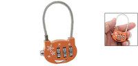 Chic Orange Flower Print 3 Digits Metal Combination Lock Coded Padlock