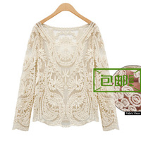 Spring crochet top loose cutout long-sleeve pullover shirt sexy lace shirt