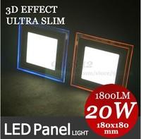 3D effect ultra slim 20W led square panel light  180MM  orange/blue cool/warm white with 220V 240V driver free shipping
