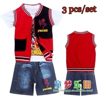 new spiderman spring autumn kids clothing set,toddler baby children clothes,unisex children waistcoat/vest/short jeans wholesale
