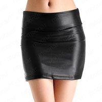 Lady Sexy PU Leather Mini Pencil Skirt Woman's Fashion Black One-Step Skirt  Onepace WE1191