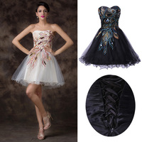 Free shipping Grace Karin Black Peacock Short Mini Graduation Strapless Tulle Ball Cocktail Prom Party Homecoming Dress CL4975