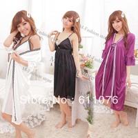 New Arrival Sexy Women's Twinset Lace Pajama Strap Sleep Night Dress Robe Nightwear Sleepwear Set White/Red/Black/Purple 18204