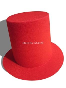 A006 20 pcs Red Mini Top Tall Hat  High 9cm  Millinery Fascinator Base DIY Craft Alligator Clips EVA