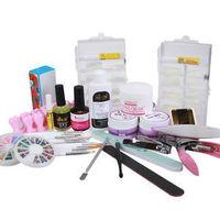 2014 Hot Pro Nail Art UV Gel Set Nail Tips Cuttertopcoat Buffer Brush Acrylic Glue UV nail art set