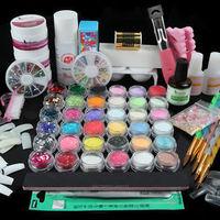 2014 Hot Nail Art Acrylic Powder Primer Glitter Striping Liquid Tips Brush Glue Kits UJ
