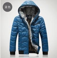 2013 men's warm cotton-padded jacket and velvet thickening stitching lattice fashion leisure cotton-padded jacket